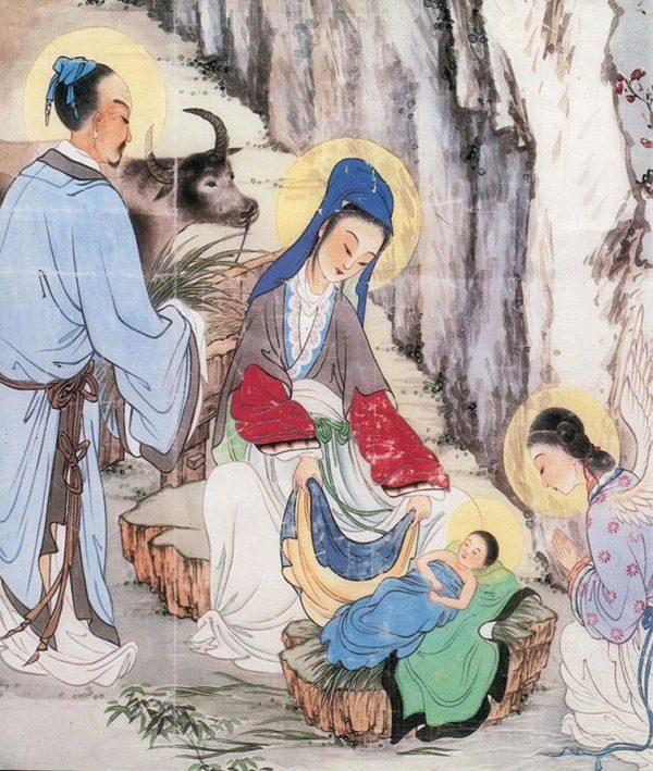Uma cena cristã com requintes chineses